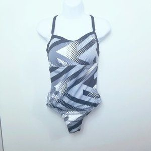 Nike One Piece Swimsuit. Black And White. M#01